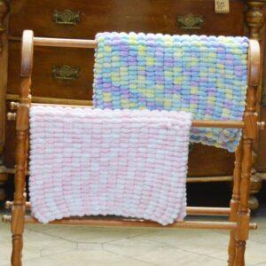 Rico Pom Pom or Sirdar Sweetie pram or car seat baby blankets