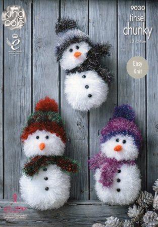King Cole Tinsel yarn pattern 9030 snowmen
