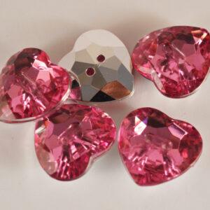 Diamonte Heart Button Pink