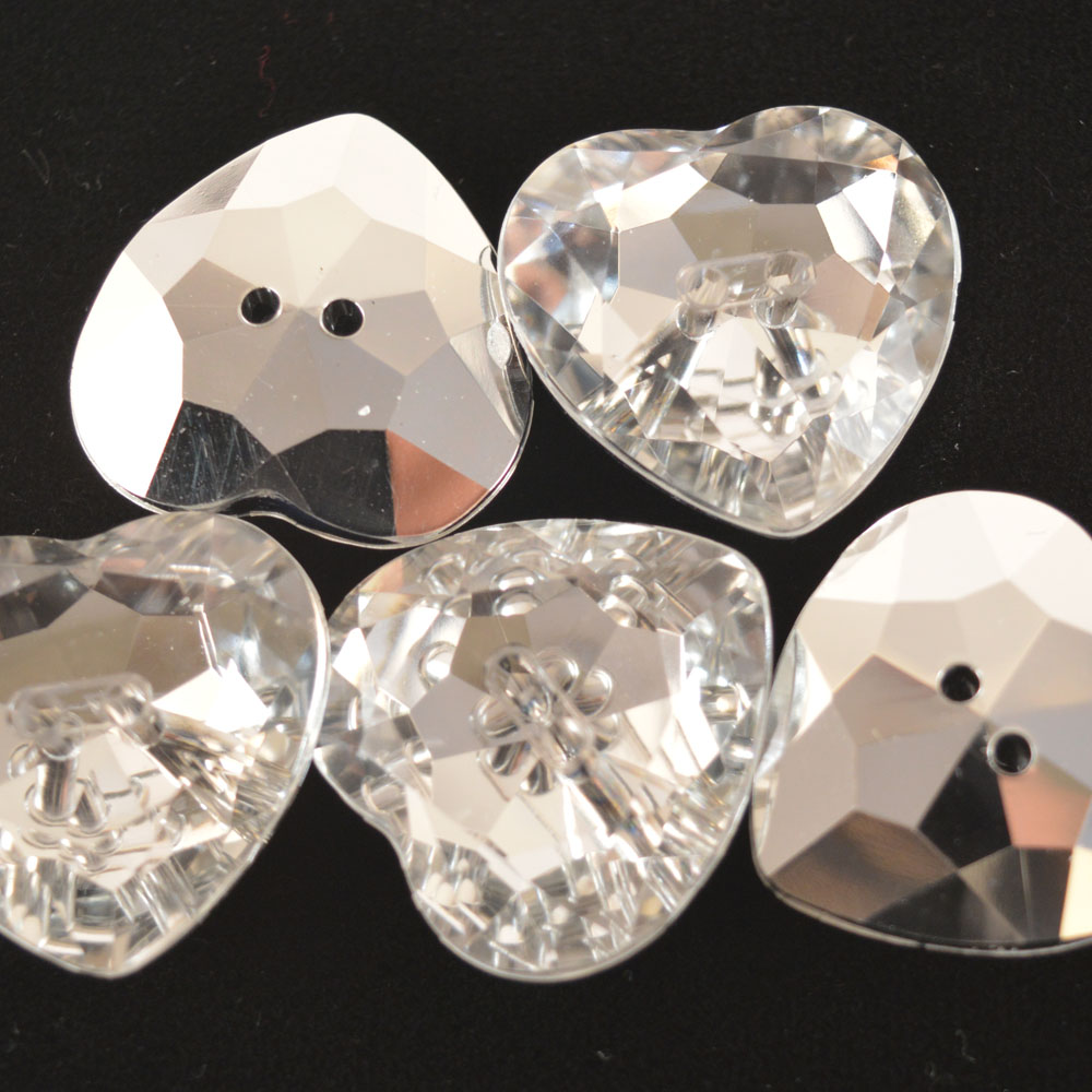 Heart-Shaped Diamonte-Style Button