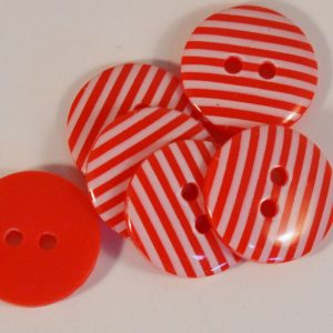Round Stripey Button 2 holes Red