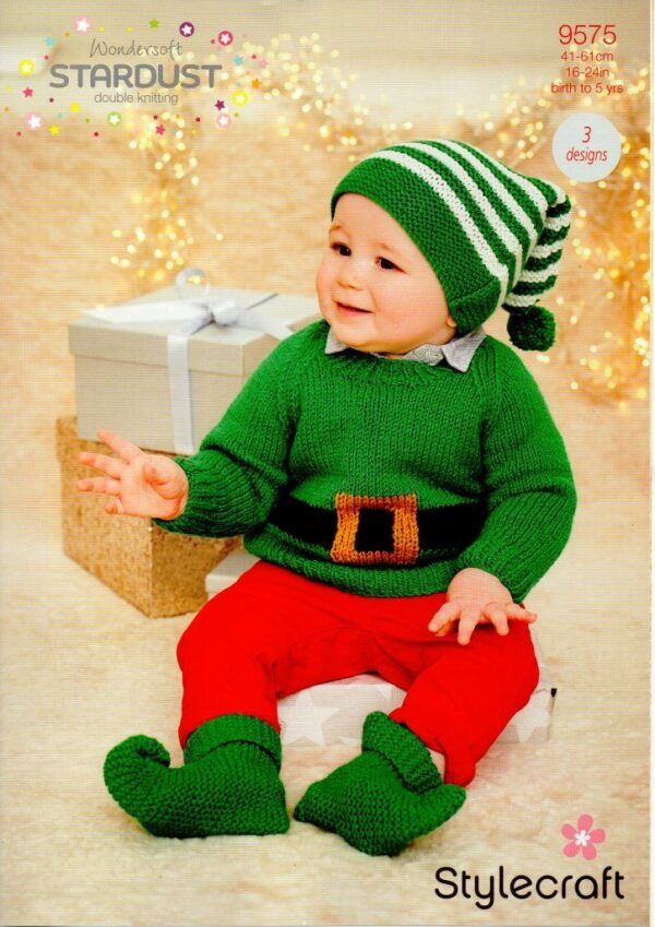 A Christmas knitting pattern designed for Stylecraft Wondersoft's Stardust DK yarn, but which can be used with any double-knitting yarn. 3 designs - an elf jumper hat and bootees.