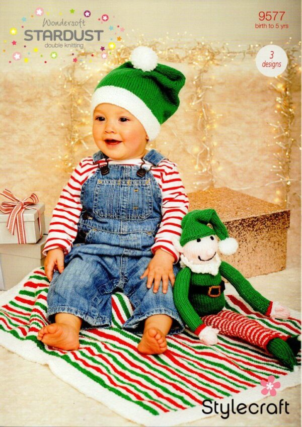 A Christmas knitting pattern designed for Stylecraft Wondersoft's Stardust DK yarn, but which can be used with any double-knitting yarn. 2 designs - an elf hat and elf toy.