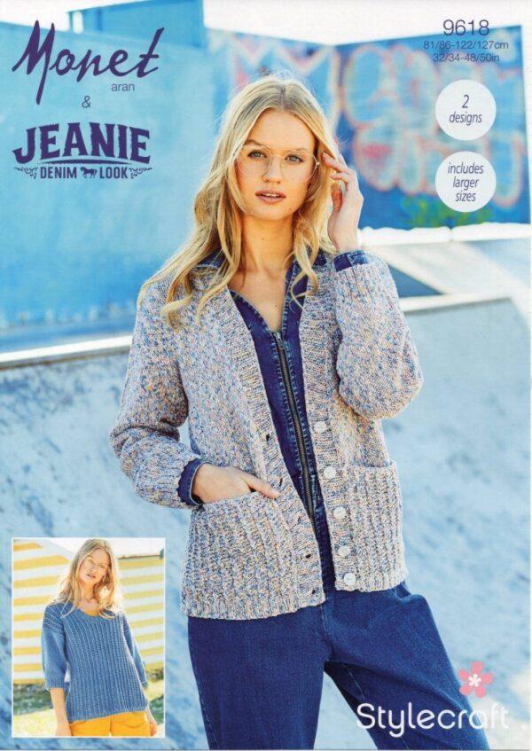 Stylecraft Monet 9618 knitting pattern for Aran yarn
