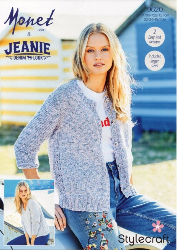 Stylecraft Monet 9620 knitting pattern for jumper and cardigan