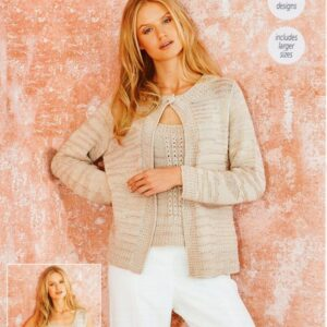 Stylecraft Moonbeam 9625 knitting pattern for a sleeveless top and matching cardigan twinset