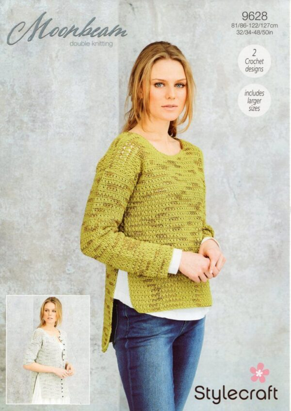 Stylecraft Moonbeam 9628 knitting pattern for a jumper and a cardigan