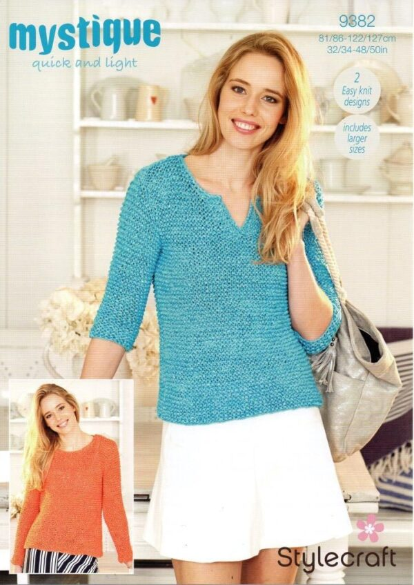 Stylecraft Mystique chunky tape yarn knitting pattern 9382