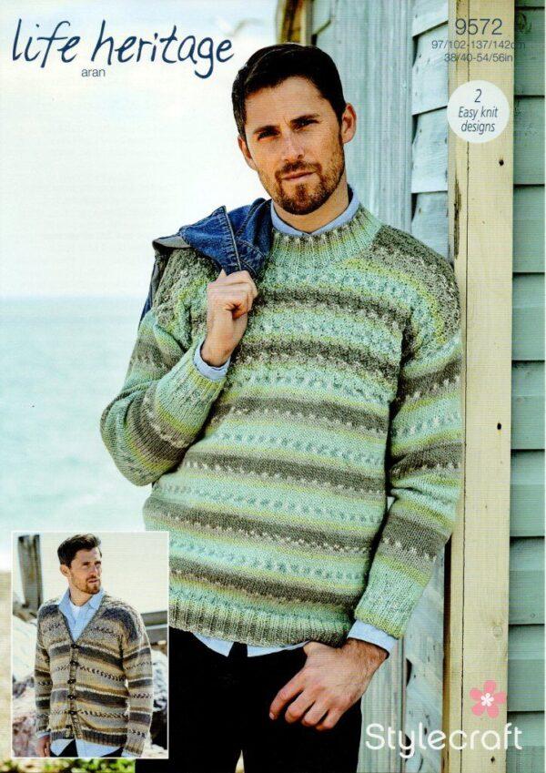 Stylecraft Life Heritage Aran knitting pattern 9572