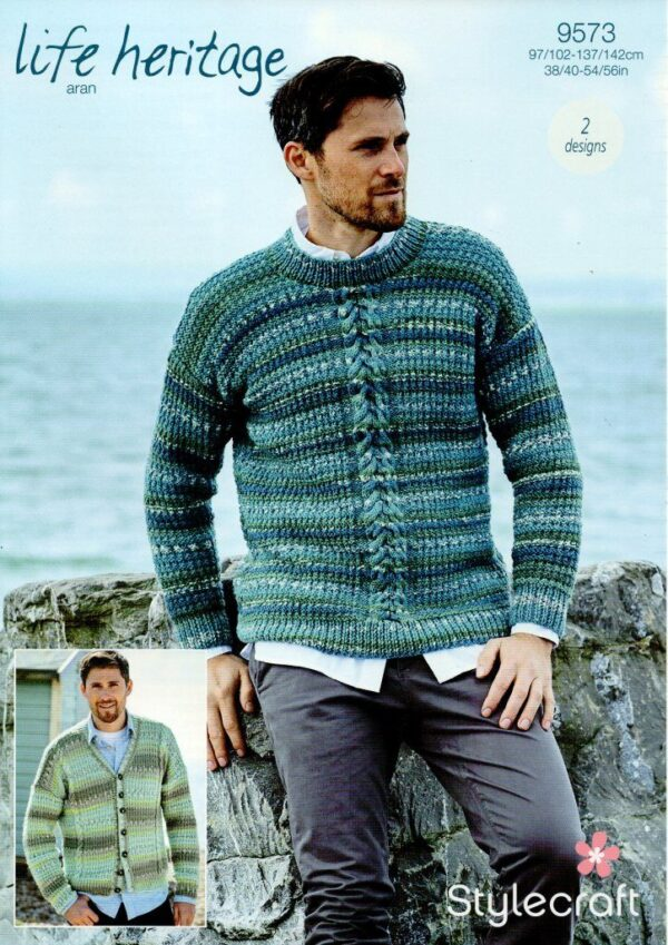 Stylecraft Life Heritage Aran knitting pattern 9573