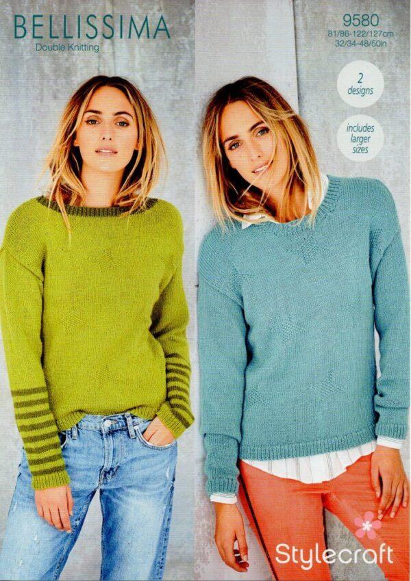 Stylecraft Bellissima DK yarn knitting pattern 9580