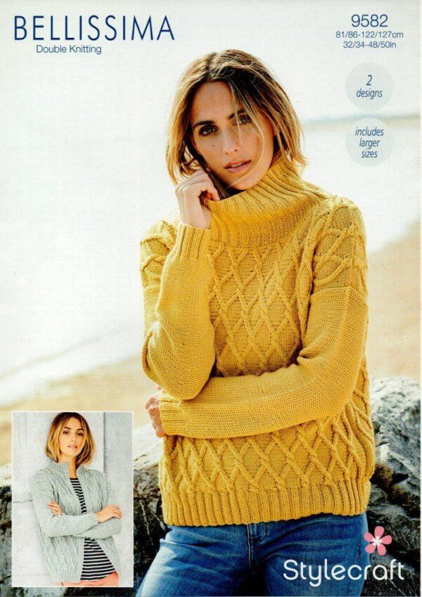 Stylecraft Bellissima DK yarn knitting pattern 9582
