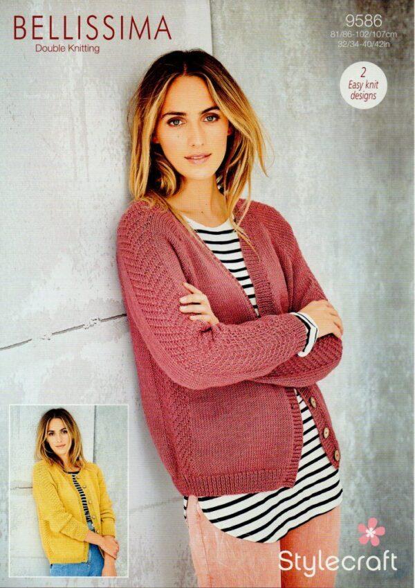 Stylecraft Bellissima DK yarn knitting pattern 9586
