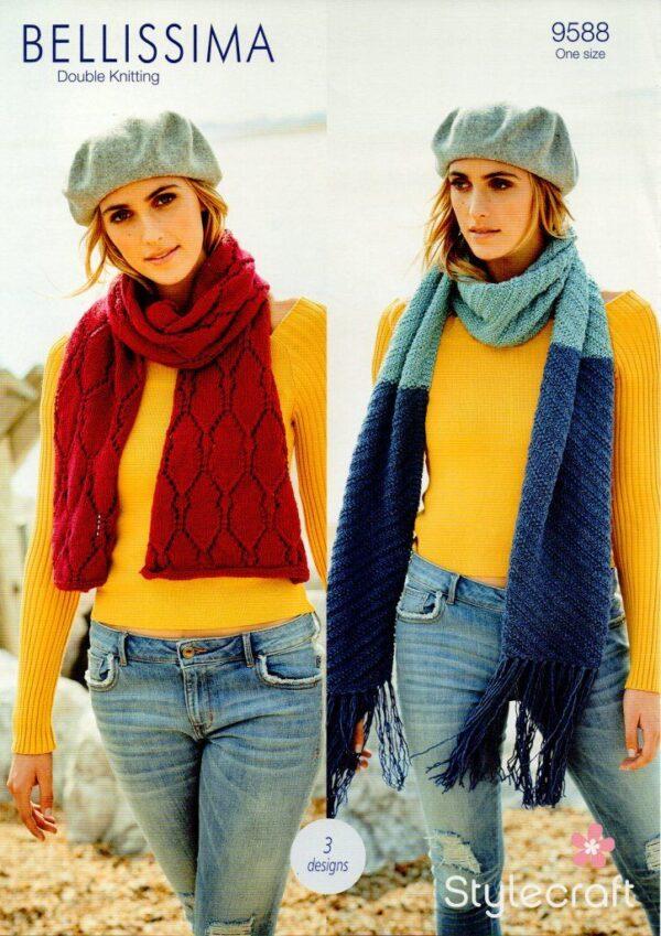 Stylecraft Bellissima DK yarn knitting pattern 9588