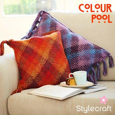 Stylecraft Colour Pool Aran Yarn free pattern cushions