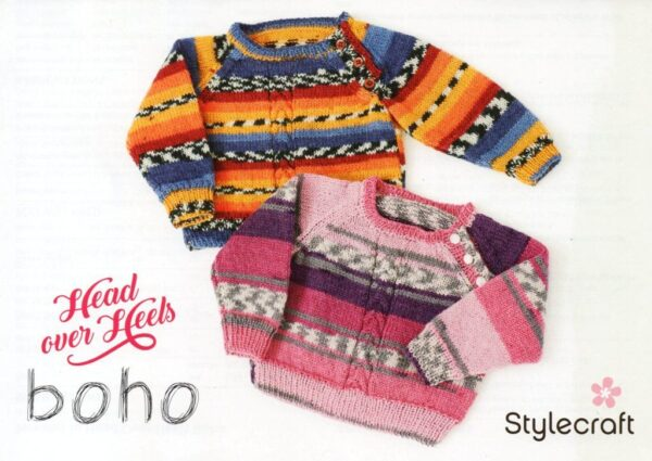Free Stylecraft Head over Heels Boho 4 ply toddler jumper pattern