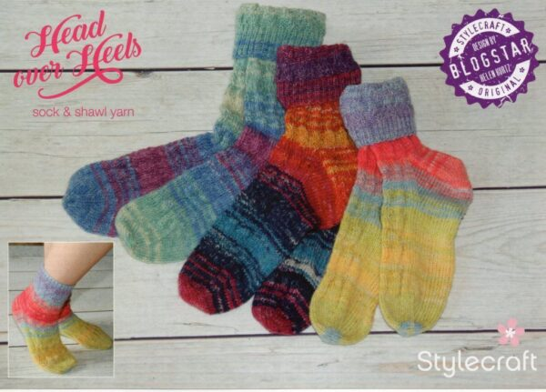 Free Stylecraft Head over Heels 4 ply sock pattern