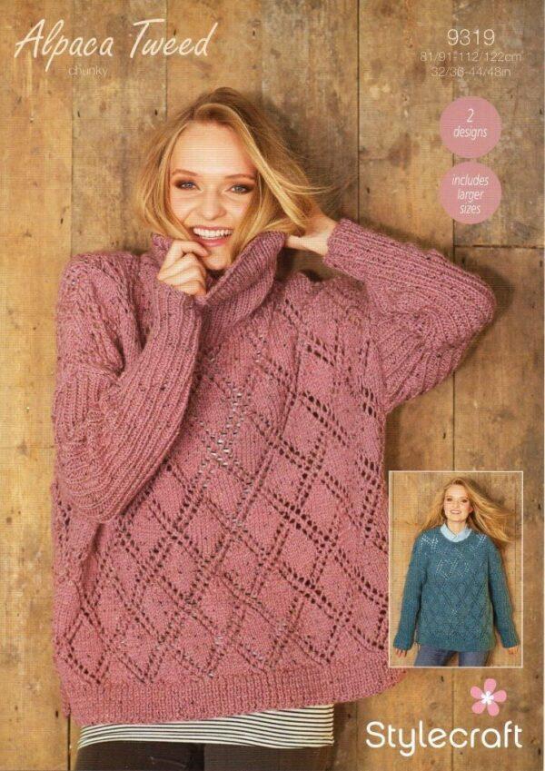 Stylecraft Alpaca Tweed Chunky knitting pattern 9319