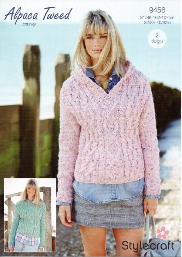 Stylecraft Alpaca Tweed Chunky knitting pattern 9456