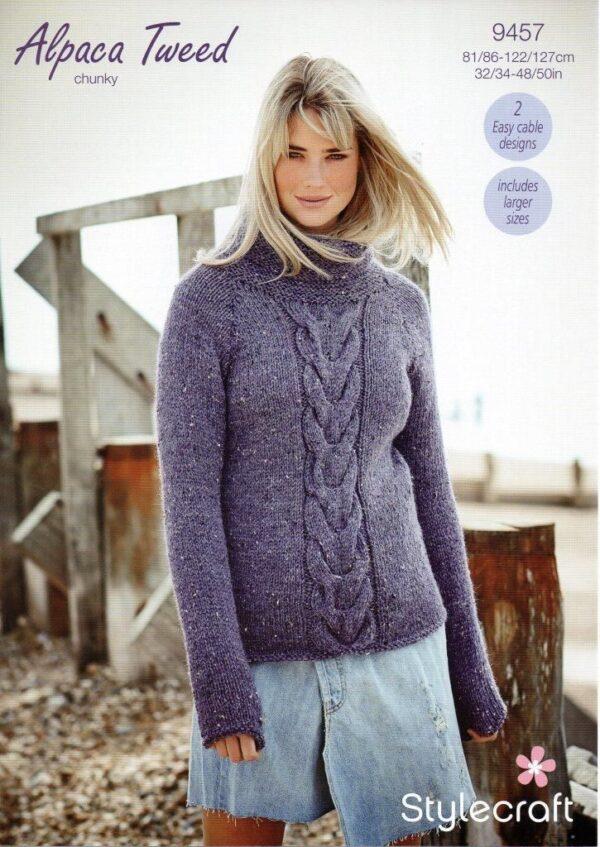 Stylecraft Alpaca Tweed Chunky knitting pattern 9457