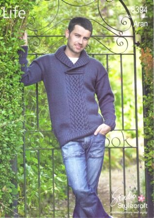 Stylecraft Life Aran yarn knitting pattern 8394