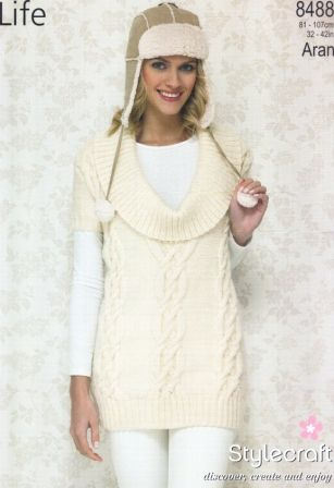 Stylecraft Life Aran yarn knitting pattern 8488