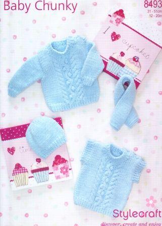 Stylecraft Baby Chunky yarn knitting pattern 8493