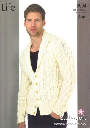 Stylecraft Life Aran yarn knitting pattern 8694