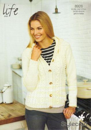 Stylecraft Life Aran yarn knitting pattern 8926