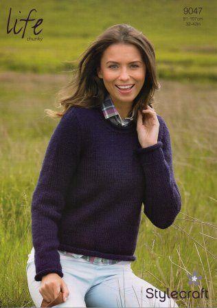 Stylecraft Life Chunky yarn knitting pattern 9047