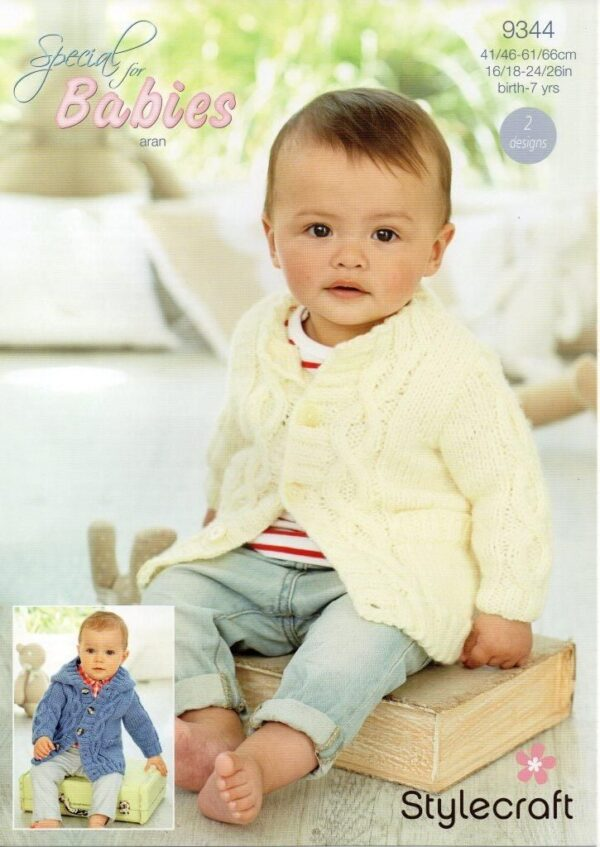 Stylecraft Special Baby Aran yarn knitting pattern 9344
