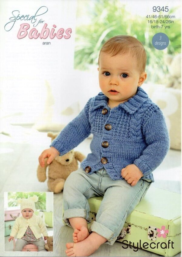 Stylecraft Special Baby Aran yarn knitting pattern 9345