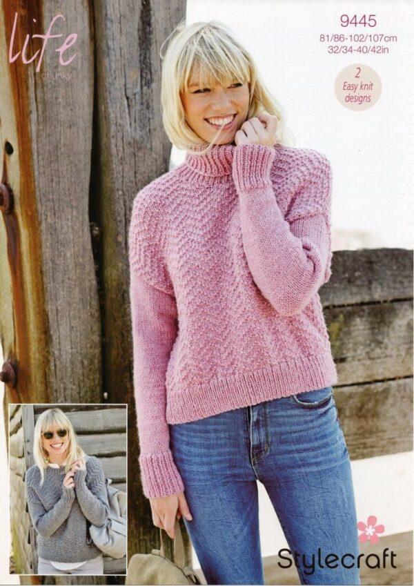 Stylecraft Life Chunky yarn knitting pattern 9445