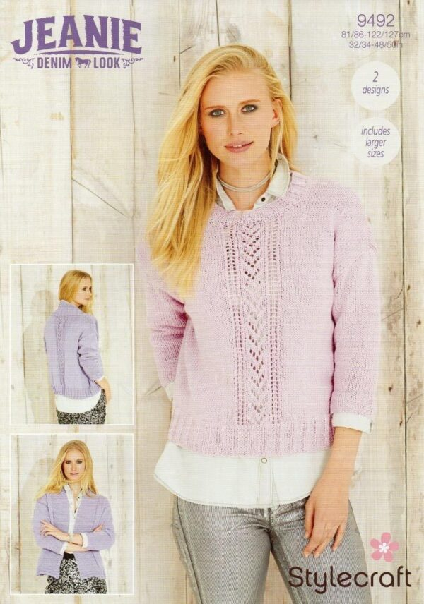 Stylecraft Jeanie Aran-weight yarn knitting pattern 9492