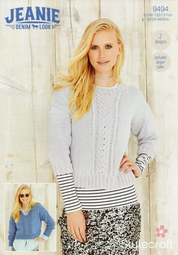 Stylecraft Jeanie Aran-weight yarn knitting pattern 9494