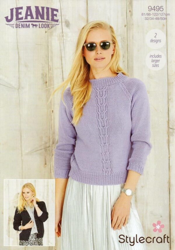 Stylecraft Jeanie Aran-weight yarn knitting pattern 9495