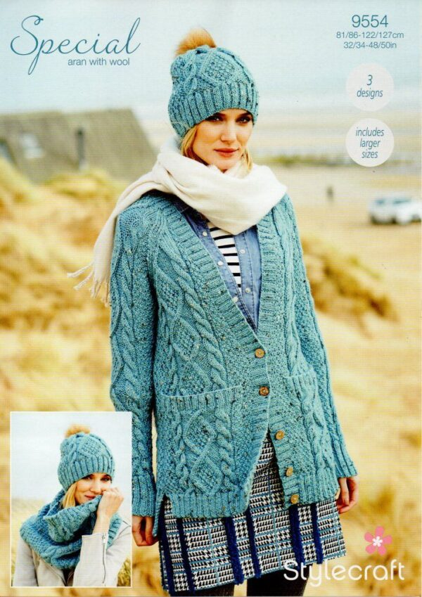 Stylecraft Special with Wool yarn knitting pattern 9554