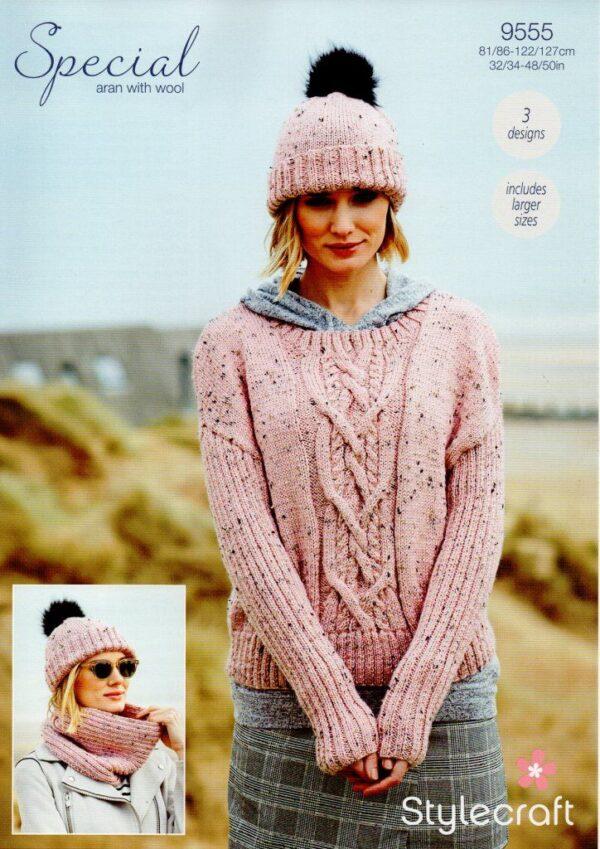 Stylecraft Special with Wool yarn knitting pattern 9555