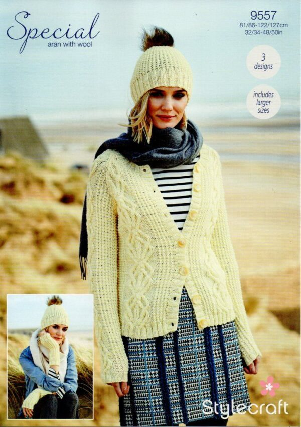 Stylecraft Special with Wool yarn knitting pattern 9557