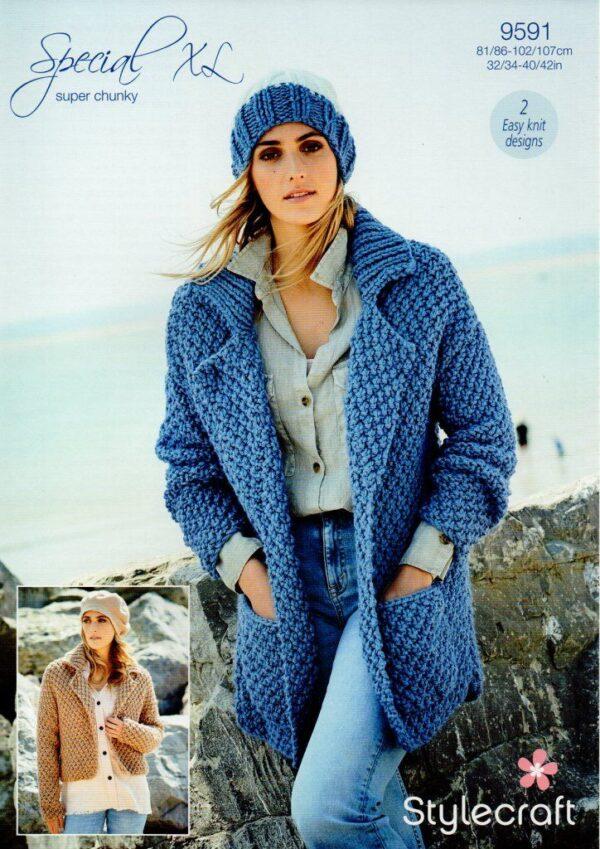 Stylecraft Special XL super chunky yarn knitting pattern 9591