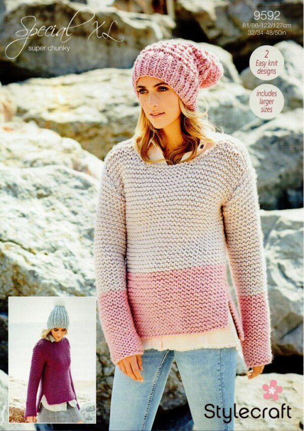 Stylecraft Special XL super chunky yarn knitting pattern 9592
