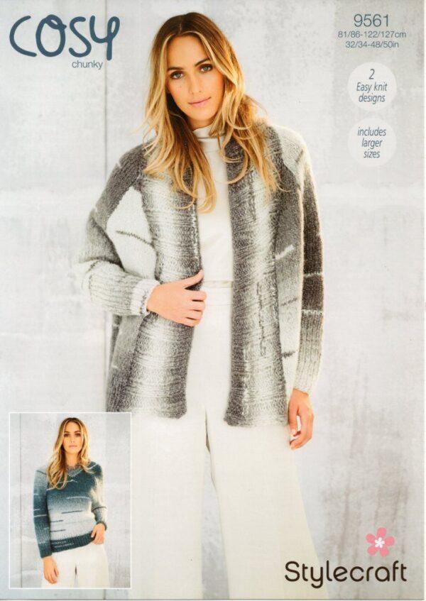 Stylecraft Cosy chunky yarn knitting pattern 9561