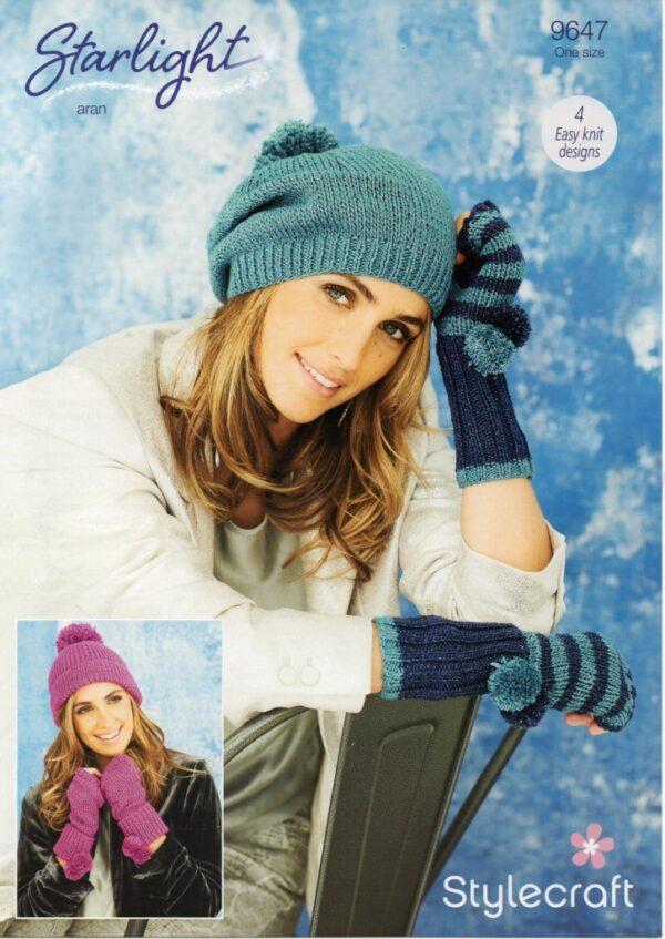 Stylecraft Starlight Aran-weight yarn knitting pattern 9647