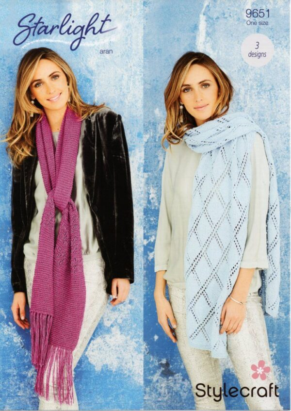 Stylecraft Starlight Aran-weight yarn knitting pattern 9651