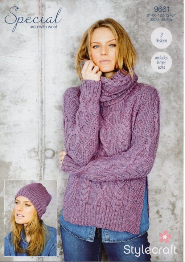 Stylecraft Special Aran with Wool knitting pattern 9661