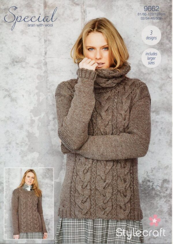 Stylecraft Special Aran with Wool knitting pattern 9662