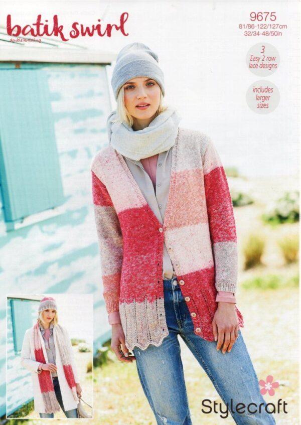 Stylecraft Batik Swirl DK knitting pattern 9675