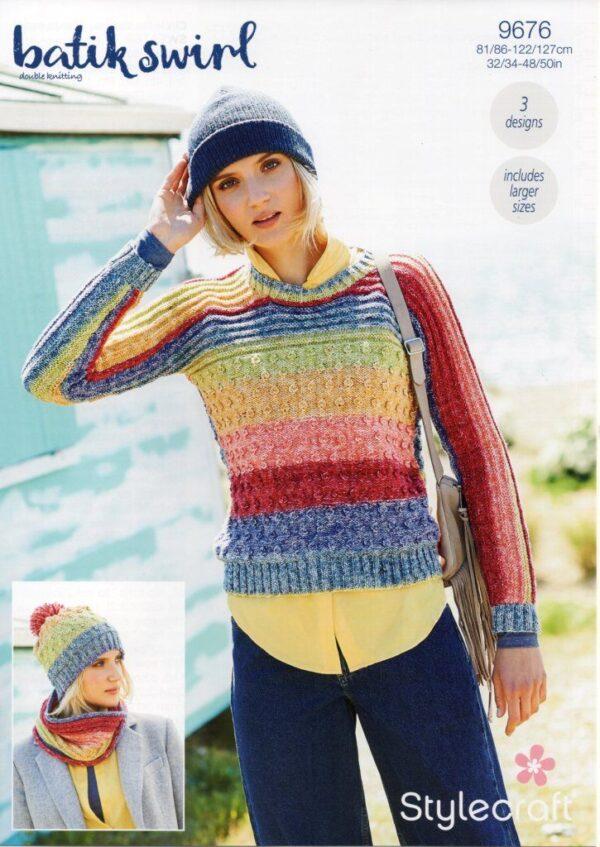 Stylecraft Batik Swirl DK knitting pattern 9676