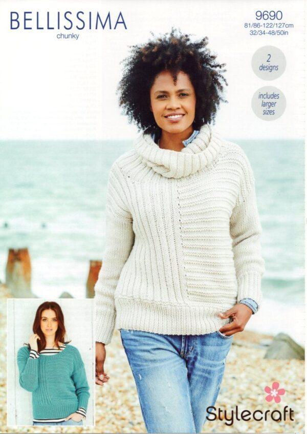 Stylecraft Bellissima chunky yarn knitting pattern 9690
