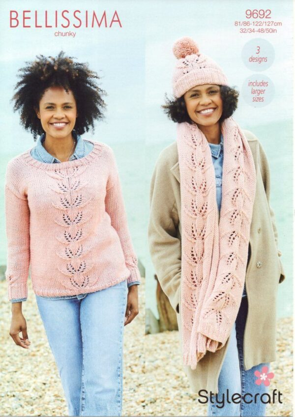 Stylecraft Bellissima chunky yarn knitting pattern 9692